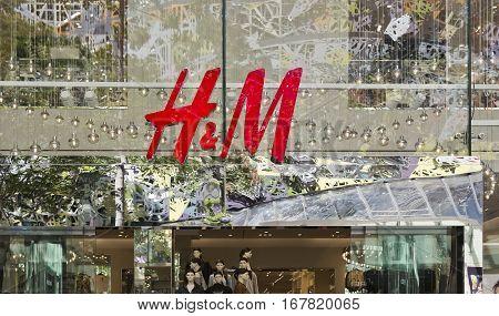 BRISBANE, AUSTRALIA - January 28, 2017: Illustrative editorial photo of a H & M store in Brisbane central retail mall.