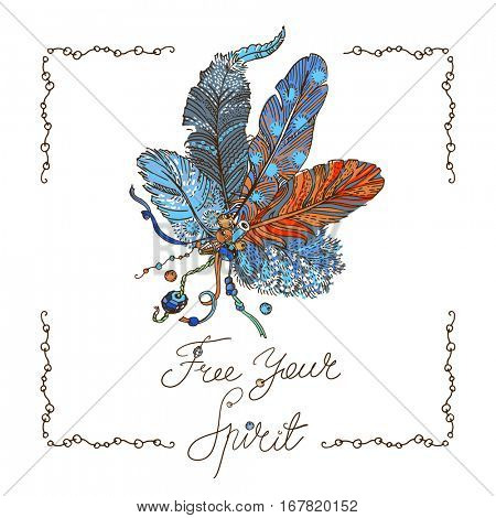 Bohemian style design for card, invitation, party poster . Free hand drawing of feathers with beads. Lettering