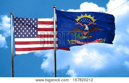 north dakota with united states flag, 3D rending, combined flags