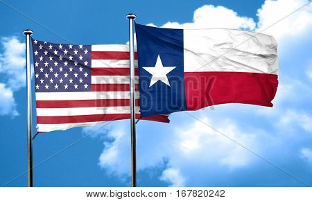texas with united states flag, 3D rending, combined flags