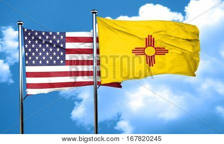 new mexico with united states flag, 3D rending, combined flags