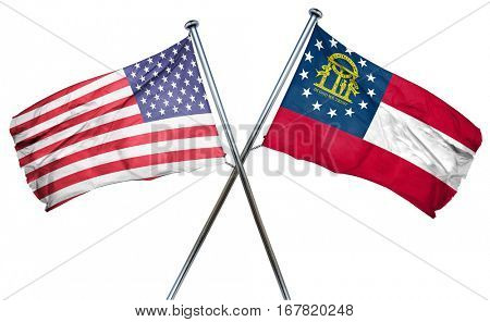georgia and USA flag, 3D rendering, crossed flags