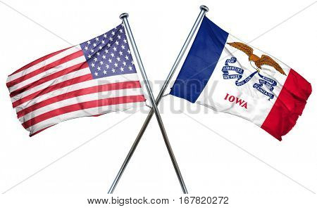 iowa and USA flag, 3D rendering, crossed flags