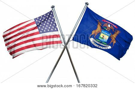 michigan and USA flag, 3D rendering, crossed flags
