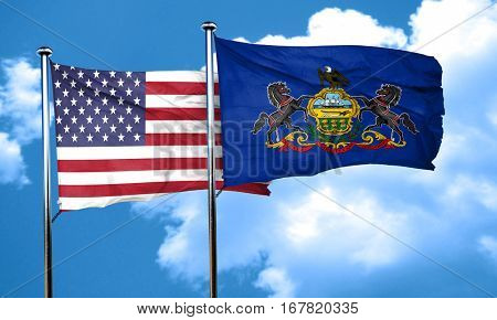 pennsylvania with united states flag, 3D rending, combined flags