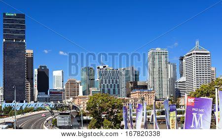 BRISBANE, AUSTRALIA - January 28, 2017: Panoramic view across the Victoria Bridge towards the modern city of Brisbane Australia