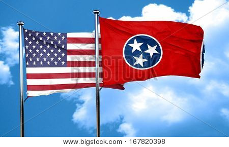 tennessee with united states flag, 3D rending, combined flags