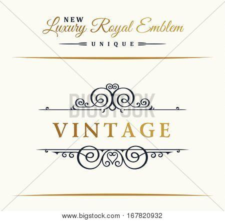 Calligraphic Luxury line logo. Flourishes gold frame. Emblem monogram. Royal vintage design. Black symbol decor for menu card, invitation label, Restaurant, Cafe, Hotel. Vector border illustration