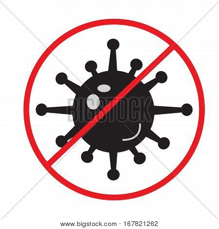 stop bacteria icon on white background. stop bacteria sign.