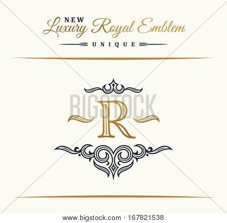 Calligraphic Luxury line logo. Flourishes elegant emblem monogram. Royal vintage divider design. Black symbol decor for menu card, invitation label, Restaurant, Cafe, Hotel. Vector border letter R