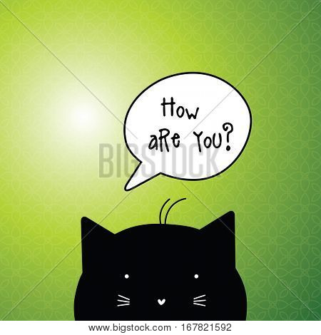 How are you? Card with speech bubble.