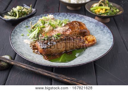 Salmon Teriyaki with Vegetable on Plate