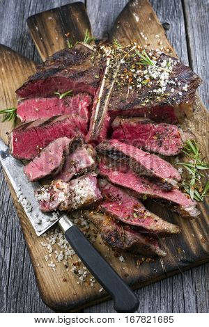 Barbecue Wagyu T-Bone Steak on Cutting Board