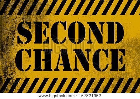 Second Chance Sign Yellow With Stripes