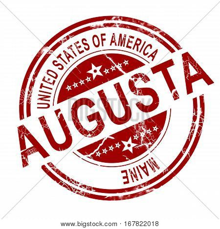 Augusta Maine Stamp With White Background