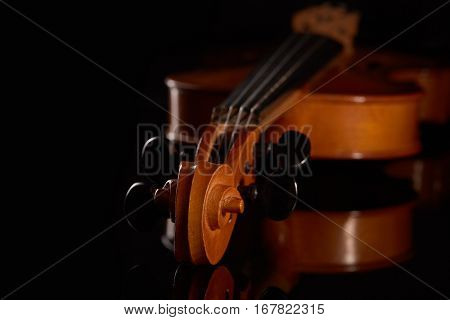 Violin on a black background.