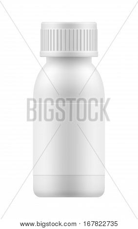 Vector 3d blank plastic jar with cap for pill or capsules. Mock-up package for medication: tablets, vitamin, supplement, antibiotic or aspirin. Medicine box or bottle for medicament. Pharmacy concept