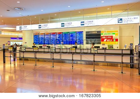 TOKYO, JAPAN - NOVEMBER 6, 2016: Interior of Haneda Airport terminal in Tokyo, Japan. Haneda is an international airport of Tokyo and primary base of two major domestic airlines.