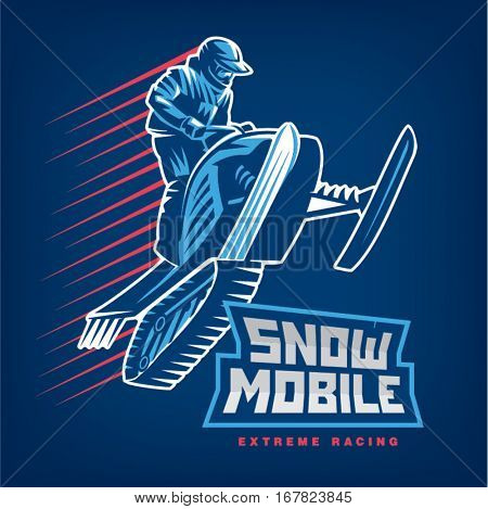 Snowmobile. Sport emblem on the dark background
