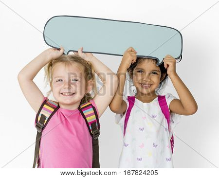 Little Children Holding Chat Box Cheerful Adorable