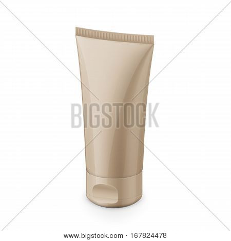 Beige glossy plastic tube for medicine or cosmetics - cream, gel, skin care, toothpaste. Realistic packaging mockup template. Eye-level view. Vector illustration.