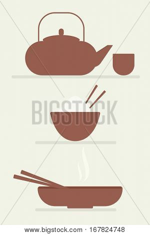 Chinese cuisine. Teapot, rice bowl, soup plate. Flat simple icons.