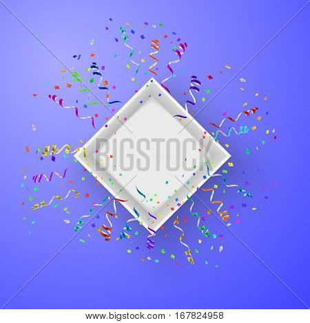 Open box with fireworks from confetti vector illustraion