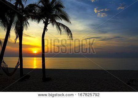 Sunrise and three coconut at Ban Krut Beach Prachuap Khirikhun Province Thailand