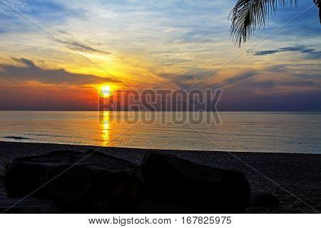 Morning sunrise at Ban Krut Beach Prachuap Khirikhun Province Thailand