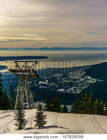 Grouse Mountain North Vancouver View To The Cabel Car Tower
