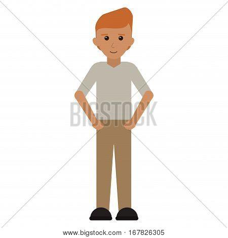 man young tshirt standing stylish vector illustraton eps 10