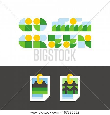 Environment day concept with go green lettering and stylized photo of nature view
