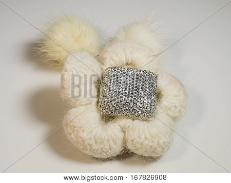 The beautiful wool flower with decoration close up