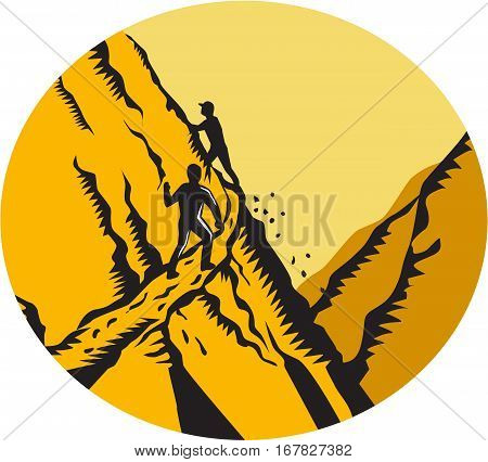 Illustration of trampers climbing a very steep path narrow sharp drop off in the mountains cliff set inside oval shape done in retro woodcut style.
