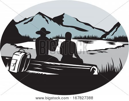 Ilustration of two trampers campers sitting on a log one is reading and the other is female with backpack leaning against the log backdrop is meadow small glacier lake framed in steep cliffs set inside oval shape done in retro woodcut style.