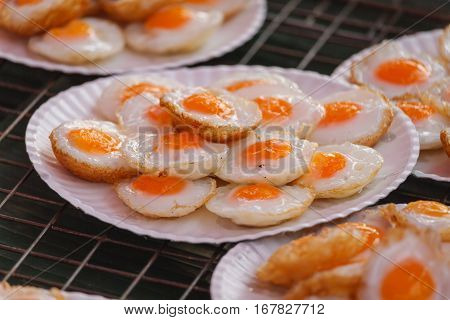 Fried quail egg or partridge egg fried Thai street food