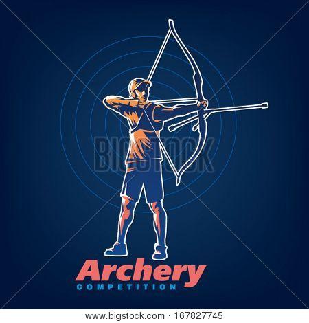 Archery. Sport emblem on the black background