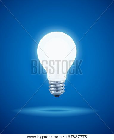 Saving power Shining Electric bulb. Light glass lamp. Economical energy. Vector illustration