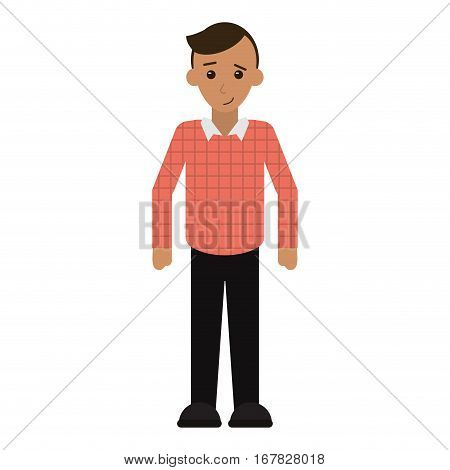 young man plaid shirt worker occupation vector illustration eps 10