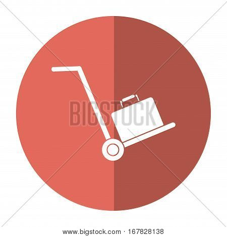 hand cart suitcase luggage travel equipment shadow vector illustration eps 10