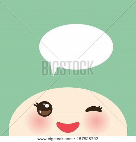 Kawaii funny muzzle with pink cheeks and winking eyes on light green background white speech bubble. Vector illustration