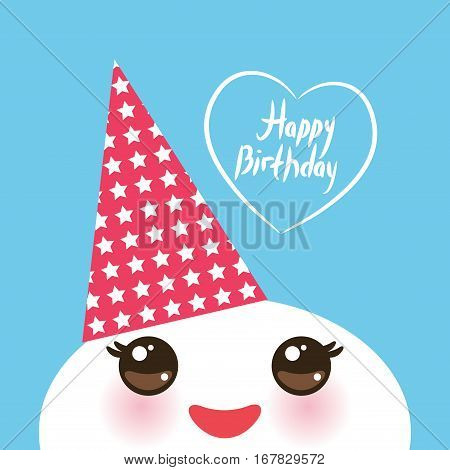 Happy birthday Kawaii funny white muzzle with pink cheeks and eyes in the red cap on light blue background. Vector illustration poster