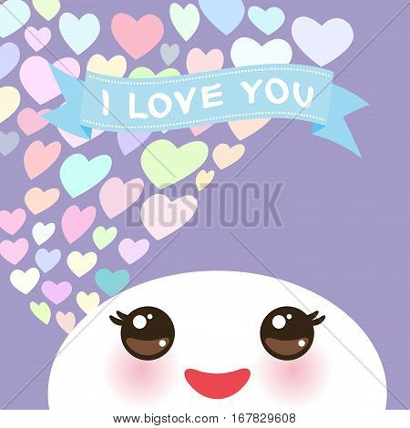 i love you Kawaii funny white muzzle with pink cheeks and eyes on light lilac background and pastel color hearts. Vector illustration