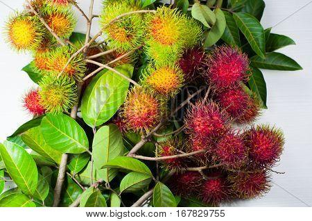 closeup rambutan. rambutan from the farm, to market .