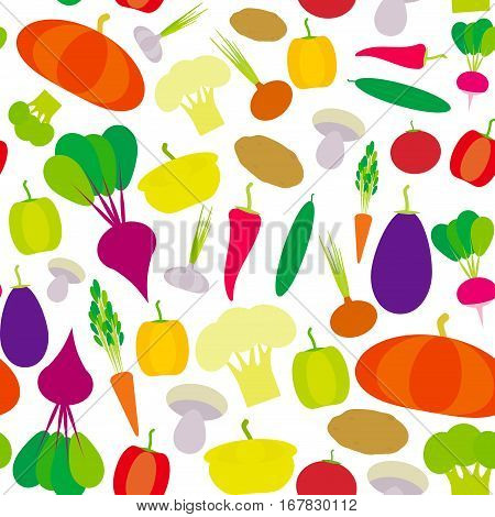 Seamless pattern vegetables bell peppers pumpkin beets carrots eggplant red hot peppers cauliflower broccoli potatoes mushrooms cucumber onion garlic tomato radish on white. Vector illustration