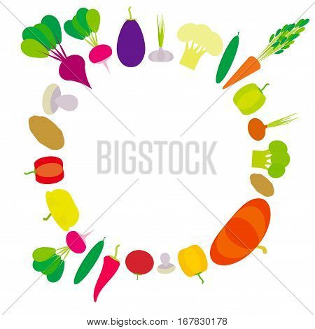 Set of vegetables bell peppers pumpkin beets carrots eggplant red hot peppers cauliflower broccoli potatoes mushrooms cucumber onion garlic tomato radish isolated on white. Vector illustration