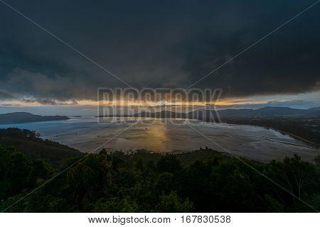 Landscape at Kao Khad Viewpoint of Phuket city at sunset time with raincloud Phuket Thailand