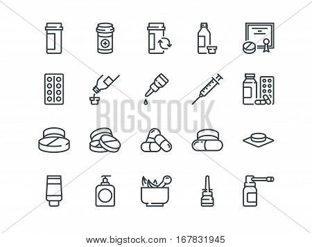 Pills. Set of outline vector icons. Includes such as Gel, Inhaler, Prescription, Syrup and other.