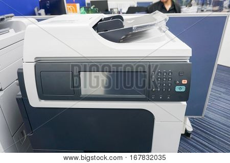 close up office printer standby for printing