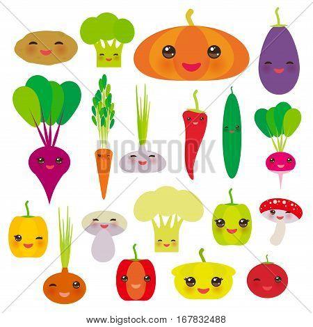 Kawaii vegetables bell peppers pumpkin beets carrots eggplant red hot peppers cauliflower broccoli potatoes mushrooms cucumber onion garlic tomato radish green background. Vector illustration